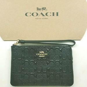 *BRAND NEW* COACH Small Black Leather Wristlet